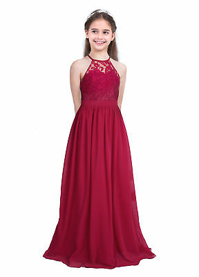 Kids Flower Girls Princess Dress Party Wedding Pageant Bridesmaid Long Maxi Gown
