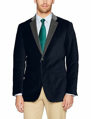 Designer Brand Mens Blazer Navy Blue Size 40 Velvet Single Button $79 052