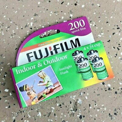 FUJIFILM Super HQ 200 Speed Sunlight Flash 35mm Camera FILM Box 4 Expired 2017-7