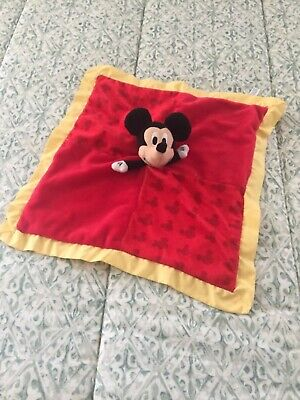 Disney Baby Mickey Mouse Lovey Blanket Red Yellow Trim Crinkle Ears Security