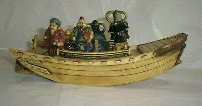 Vintage Antique Chinese Japanese Asian Boat with Figurines