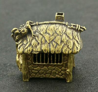 Exquisite China Old Pure Brass Handwork thatched cottage statue collectable/Vb01