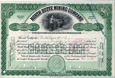 1906 North Butte Mining Company  Stock Certificate - 25 Shares