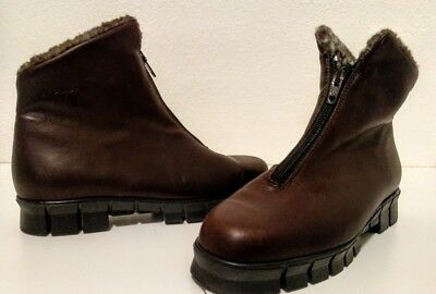 Henri Pierre Womens Brown Leather Winter Shoes Ladies Ankle Boots Women Size 6