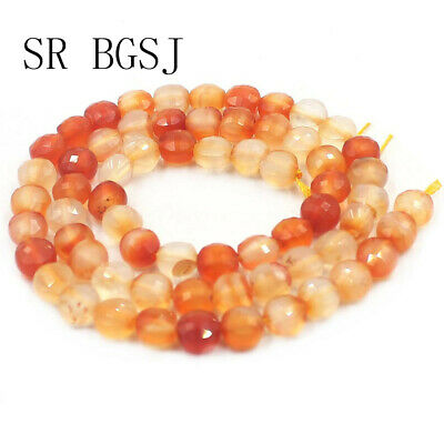 """Jewelry DIY Natural Faceted Coin Carnelian Gemstone Beads Strand 15""""6mm"""