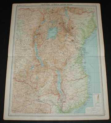 Map of Central Africa - Eastern Section from the 1920 Times Survey Atlas
