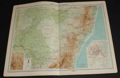 Map New South Wales, Australia, 1920 Times Survey Atlas, inset Canberra & Sydney
