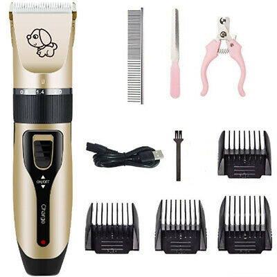 Dogs Cats Clippers Low Noise Pet Rechargeable Cordless Trimmer Grooming Nail Kit