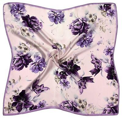 M827 Lilac Purple Abstract Printed Thick Silk Small Square Scarf