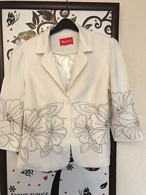 Beautiful Monsoon Cream/silver Embroidered Pattern Jacket  - Approx Size 10/12