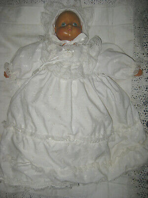Juliet Baby Doll In Christening Outfit-Wooden Carved Face -1989 By Robert Raikes