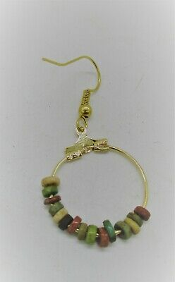 Beautiful Ancient Egyptian Faience Beads Set On A Gold Plated Silver Earring