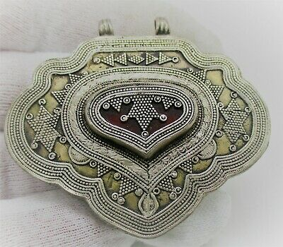 Beautiful Post Medieval Islamic Silver Amulet With Filligree And Carnelian Stone
