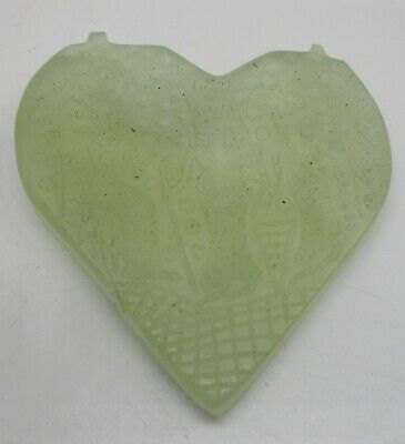 Beautiful Ancient Near Eastern Jade Stone Amulet Wearable Heart Shaped