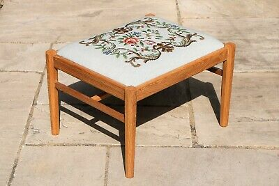 Vintage Arts & Crafts Style Oak Footstool Tapestry Top Beautifully Hand Crafted