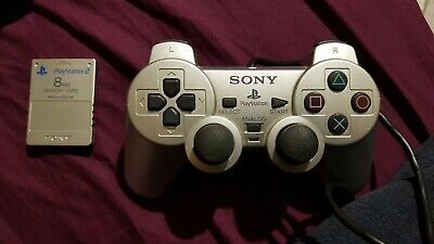 Sony PS2 Playstation 2 silver Official Dualshock 2 Controller and memory card