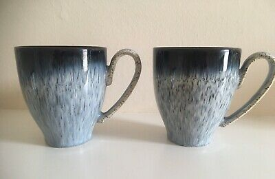 """Denby Stoneware """" Halo """" Mugs Tall Blue / Black Pattern X 2 Excellent Condition"""