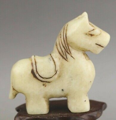 Chinese old natural jade hand-carved statue horse pendant 2.3 inch