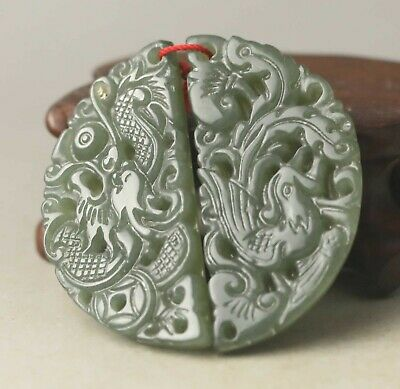 Chinese old natural hetian jade hand-carved dragon phoenix pendant 1.7 inch