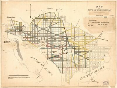 1884 map of the city of Washington|Size 18x24 - Ready to Frame| District of Colu