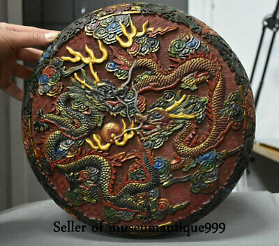 "12"" Qianlong Marked Old lacquerware Painted Qing Dynasty 2 Dragon jewelry Box"