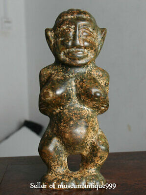 """8.4"""" China Hongshan Culture Old Jade Hand Carved Woman Big Boobs Figure Statue"""