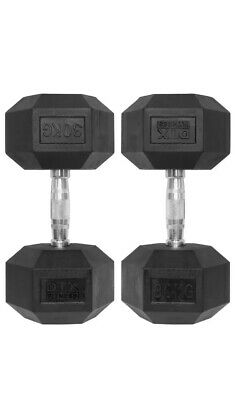 1x 30kg Single Rubber Encased Dumbbell Hex Weight Dumbell/Gym Workout