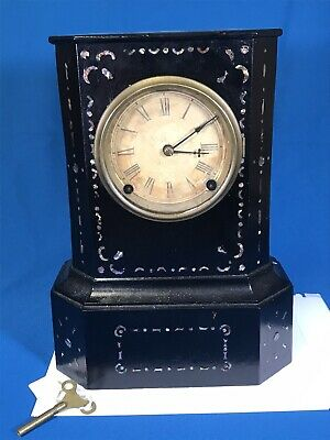 American Clock Co Cast Iron Mantel Clock w/ Pendulum Mother of Pearl Inlay