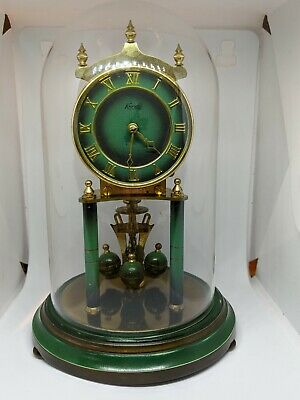 Vintage Kundo Green Anniversary Glass Dome Clock