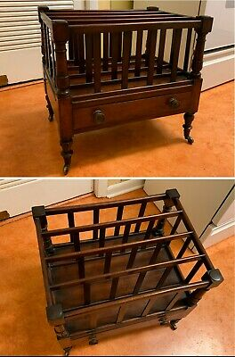 Price Reduced: Antique Mahogany Canterbury Magazine Rack with Storage Drawer