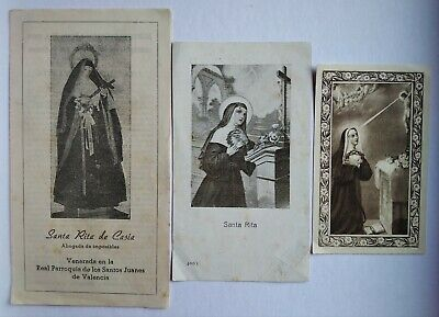 lote 3 estampas religiosa antiguas SANTA RITA DE CASIA ORACION holy card