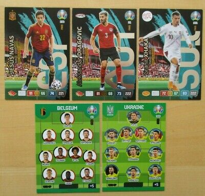 Panini- Adrenalyn XL- Uefa Euro 2020 -5 Sonderkarten - Line up / Fan´s Favourite