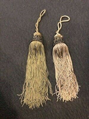 Vintage Pair Of Large Braided Cord And Metal Drapery Tassel Tie-Backs