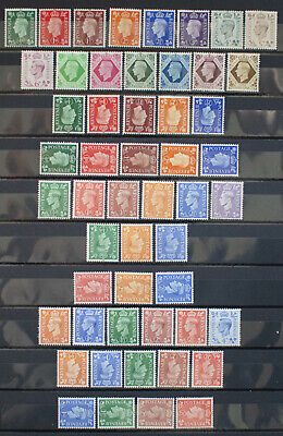 GB Complete Collection of KING GEORGE VI Definitives MINT inc Watermark Var