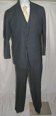 Anderson Sheppard Savile Row Custom Gray Stripe Three Piece Two Button Suit 44XL