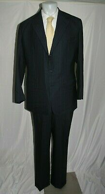 Anderson Sheppard Savile Row Bespoke Navy Blue Striped Three Roll Two Suit 42XL