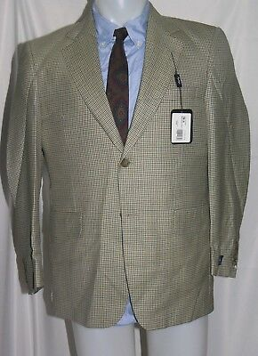 Coppley Bocelli Bamboo Blend Tan Houndstooth Two Button Blazer 38S NWT