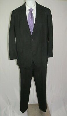 Brooks Brothers Golden Fleece Vintage Charcoal Stripe Three Roll Two Suit 44L