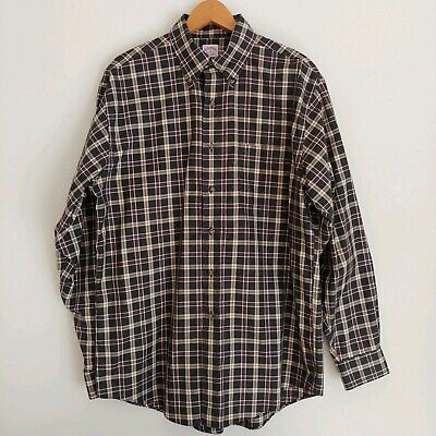 Brooks Brothers Mens The Original Polo Shirt M Long Sleeve Brown Plaid Button Up