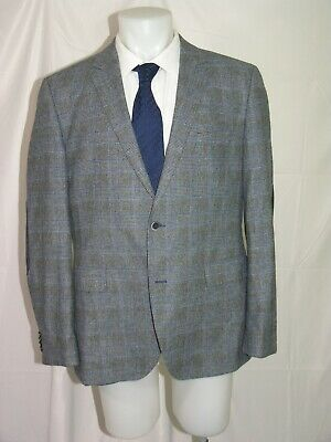 Hugo Boss The Smith 13_1 Current Elbow Patch Gray Plaid Two Button Blazer 44R