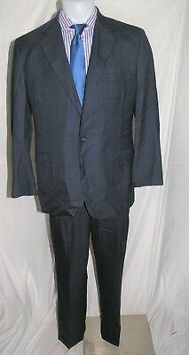 Tom James Royal Classic Holland & Sherry Custom Blue Plaid Two Button Suit 44R