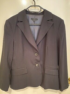 Country Road Suit Black With Charcoal Stripes Size 14 Petite