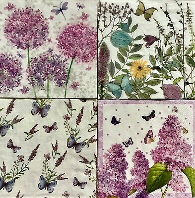 4 Paper Napkins for Decoupage / Parties/Weddings - Butterflies and flowers mix