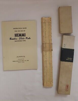 Vintage Sun Hemmi Bamboo Slide Rule with original box and instruction book