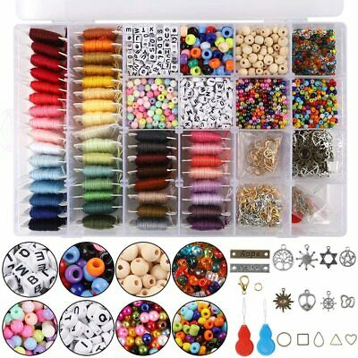 Jewelry Making Kit Set Colorful 48 Embroidery Thread Beads Hooks Complete Craft
