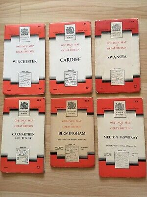 Collection of Vintage One Inch Ordnance Survey Maps Circa 1950's/60's