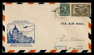 Dr Who 1931 Canada Victoria To Vancouver First Flight Air Mail C175843
