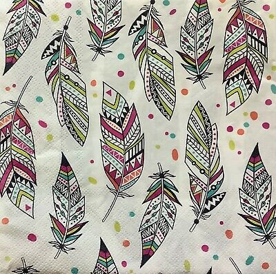 4 Paper Napkins for Decoupage / Parties / Weddings - Feathers