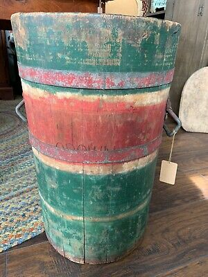 AMAZING Early AAFA  Antique PRIMITIVE Old PAINTED WOOD BUCKET Farm Pail FIRKIN