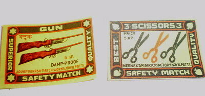 2 Very old  diff match box covers from India - Near mint -  Gun and Scissors